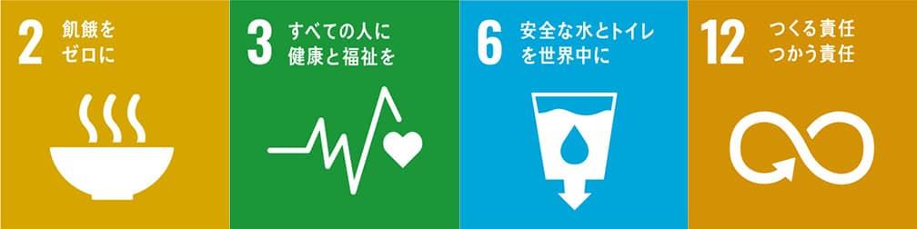 2.飢餓をゼロに 3.すべての人に健康と福祉を 6.安全な水とトイレを世界中に 12.つくる責任 つかう責任