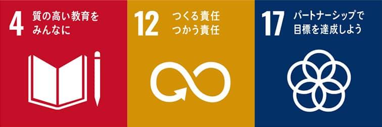4.質の高い教育をみんなに 12.つくる責任 つかう責任 17.パートナーシップで目的を達成しよう
